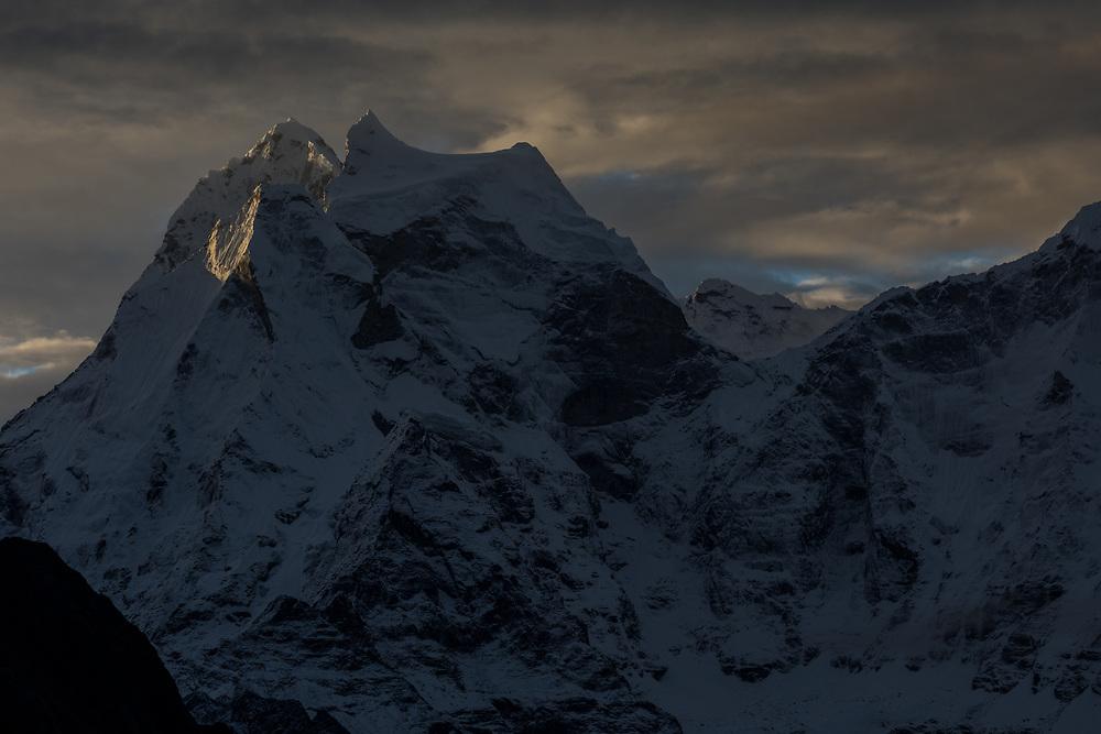 The north face of Kantega 6782m at sunrise in the Khumbu region of Nepal.
