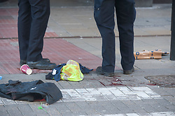 © Licensed to London News Pictures. 15/02/2019. Croydon, A 42 year old man has been stabbed in broad daylight this morning in Croydon High Street, Police have put a cordon in place on part of the High Street while forensic officers are on scene.<br />   Photo credit: Grant Falvey/LNP