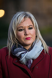 © Licensed to London News Pictures. 21/02/2018. London, UK. Sinn Féin Vice President Michelle O'Neill MLA gives a statement to the press after meeting with Prime Minister Theresa May. Photo credit: Rob Pinney/LNP