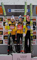 30.12.2011, Schattenbergschanze / Erdinger Arena, GER, Vierschanzentournee, FIS Weldcup, Ski Springen, im Bild Andreas Kofler (AUT, 2. Platz) // Andreas Kofler of Austria  second place, Gregor Schlierenzauer (AUT, 1. Platz) // Gregor Schlierenzauer of Austria first place, Thomas Morgenstern (AUT, 3. Platz) // Thomas Morgenstern of Austria  thirt place during of FIS World Cup Ski Jumping in Oberstdorf, Germany on 2011/12/30. EXPA Pictures © 2011, PhotoCredit: EXPA/ P.Rinderer