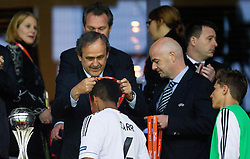 Michel Platini, president of UEFA with Marian Sarr of Germany at medal ceremony after the UEFA European Under-17 Championship Final match between Germany and Netherlands on May 16, 2012 in SRC Stozice, Ljubljana, Slovenia. Netherlands defeated Germany after penalty shots and became European Under-17 Champion 2012. (Photo by Vid Ponikvar / Sportida.com)