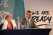 Brexit Party MEP Ann Widdecombe looks out into the crowd next to Brexit Party leader Nigel Farage ahead of a question and answer session with  at an event to introduce prospective parliamentary candidates in central London, United Kingdom on 27th August, 2019.