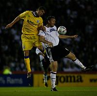 Photo: Steve Bond.<br />Derby County v Southampton. Coca Cola Championship. Play Off Semi Final, 2nd Leg. 15/05/2007. Steve Howard (R) shields the ball