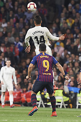 March 2, 2019 - Madrid, Madrid, Spain - Luis Suarez (forward; Barcelona), Casemiro (midfielder; Real Madrid) in action during La Liga match between Real Madrid and FC Barcelona at Santiago Bernabeu Stadium on March 3, 2019 in Madrid, Spain (Credit Image: © Jack Abuin/ZUMA Wire)