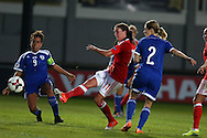 Helen Lander of Wales women © scores her teams 2nd  goal. UEFA Womens Euro qualifying match, Wales Women v Israel Women at Rodney Parade in Newport, South Wales on Thursday 15th September 2016.<br /> pic by Andrew Orchard, Andrew Orchard sports photography.