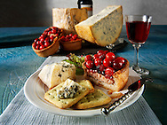 Traditional blue Stilton cheese  with cranberry pork pie.