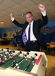 File photo dated 11/05/17 of Liberal Democrats leader Tim Farron playing a game on table football during a visit to charity Gloustershire Action for Refugees and Asylum Seekers in Gloucester.