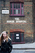 The Horse Hospital on Colonnade, London, is an arts venue where all areas fo art are represented. It is a space for hire for events, exhibitions or screenings and is the only existing unspoilt example of a two-floor, purpose-built stable remaining for public access in London. It is built with a cobbled ramp up which horses could walk to the first floor.