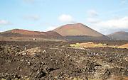 Malpais badlands volcanic landscape Parque Natural Los Volcanes, near Yaiza, Lanzarote, Canary islands, Spain