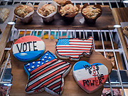 08 NOVEMBER 2019 - DES MOINES, IOWA: Cookies with voting messages on them written in frosting at the Main Street Cafe and Bakery. Iowa is ground zero for American politics between now and Feb. 3, 2020, when the state hosts the Iowa Caucuses, the first event in the US Presidential election selection cycle.              PHOTO BY JACK KURTZ