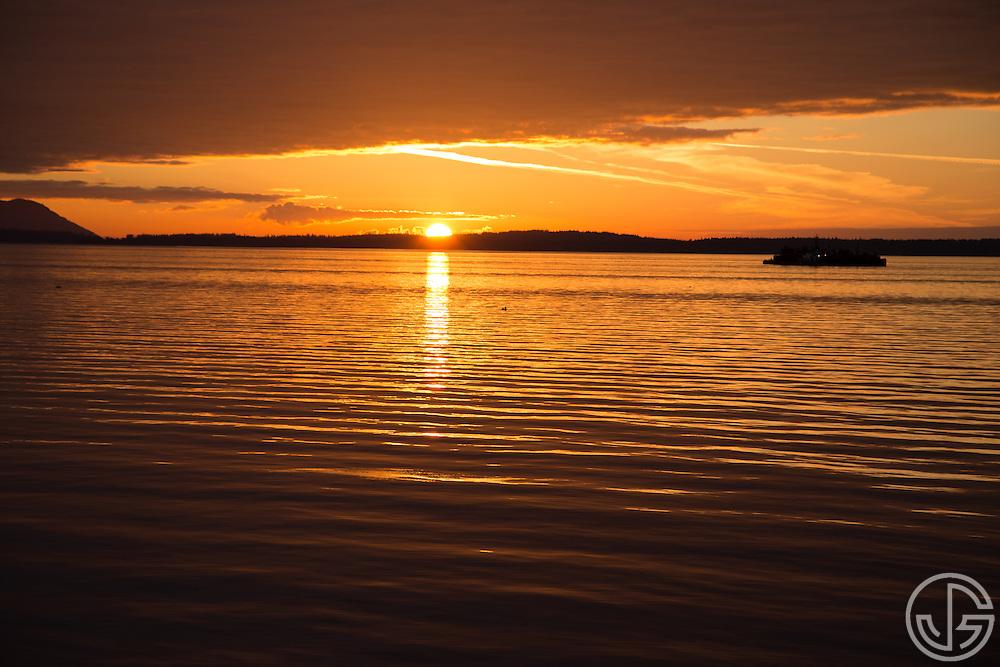Sunset along the South Bay Trail, overlooking Bellingham Bay in Bellingham, Washington, September 19, 2014.