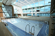 Celebrity Equinox, a brand new cruise ship belonging to Celebrity Cruises, during her river conveyance down the River Emms from the shipyard where she was built to the open sea..Onboard feature photos. (ship unfinished).Solarium