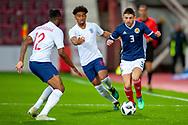 Greg Taylor (#3) of Scotland U21s (Kilmarnock FC) takes on Aaron Wan-Bissaka (#12) of England U21s (Crystal Palace) during the U21 UEFA EUROPEAN CHAMPIONSHIPS match between Scotland and England at Tynecastle Stadium, Edinburgh, Scotland on 16 October 2018.