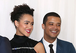 Nathalie Emmanuel (left) and Jacob Anderson attending the Game of Thrones Premiere, held at Waterfront Hall, Belfast.