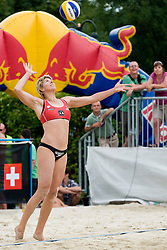 Natalie Cook of Australia, ex-Olympic gold medalist from Sydney 2000 with her comeback to beach volleyball, on serve at  A1 Beach Volleyball Grand Slam tournament of Swatch FIVB World Tour 2010, on July 28, 2010 in Klagenfurt, Austria. (Photo by Matic Klansek Velej / Sportida)