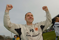 Photo: Leigh Quinnell.<br /> Mansfield Town v Carlisle United. Coca Cola League 2. 22/04/2006. Carlise manager Paul Simpson celebrates promotion to league 1.