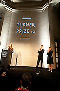 SUSAN PHILIPZ; MIUCCIA PRADA; SIR NICHOLAS SEROTA, Turner Prize 2010. Tate Britain. Millbank. London. 6 December 2010. -DO NOT ARCHIVE-© Copyright Photograph by Dafydd Jones. 248 Clapham Rd. London SW9 0PZ. Tel 0207 820 0771. www.dafjones.com.