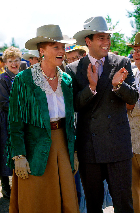 The Duke and Duchess of York seen at the Medicine Hat Rodeo, Canada in July 1987. Photographed by Jayne Fincher