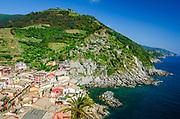 The town of Vernazza and Ligurian Coast from Doria Castle, Cinque Terre, Liguria, Italy