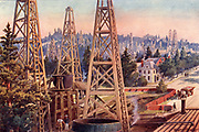 The oil region of Los Angeles, California, USA.  Oil derricks in what had been a residential area of Los Angeles.  From 'The Practical Grocer' (London, 1905).   Halftone.