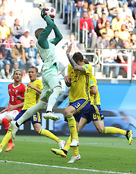 SAINT PETERSBURG, July 3, 2018  Goalkeeper Robin Olsen (top) of Sweden defends during the 2018 FIFA World Cup round of 16 match between Switzerland and Sweden in Saint Petersburg, Russia, July 3, 2018. (Credit Image: © Cao Can/Xinhua via ZUMA Wire)