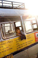 A young man on the bus in India