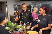 Brooklyn, NY - December 11, 2018: Chef Carla Hall presents dinner at the Brownsville Community Culinary Center as part of the center's Guest Chef series.<br /> <br /> <br /> Photos by Clay Williams for Brownsville Community Culinary Center.<br /> <br /> © Clay Williams - http://claywilliamsphoto.com
