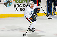 KELOWNA, BC - SEPTEMBER 22:  Josh Archibald #15 of the Edmonton Oilers skates with the puck during practice at Prospera Place on September 22, 2019 in Kelowna, Canada. (Photo by Marissa Baecker/Shoot the Breeze)
