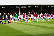 Fulham and Aston Villa on the pitch before the Sky Bet Championship match at Craven Cottage, London<br /> Picture by Richard Brooks/Focus Images Ltd 07947656233<br /> 17/04/2017