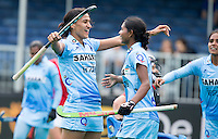 ANTWERP -   Rani Rani (l) has scored for India   during  the match between the women of India and Poland .   right Lilima Minz WSP COPYRIGHT KOEN SUYK