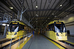 © Licensed to London News Pictures . 07/07/2014 . Manchester , UK . Trams at Metrolink Tram Depot in Trafford , Manchester as the Deputy Prime Minister , Nick Clegg MP , launches the British Government's local Growth Deals this morning (7th July 2014) at Metrolink Tram depot in Trafford , Manchester , which includes £18 million for Manchester's Metrolink transport system . The Government says that £12 billion will be invested in local business , training and infrastructure projects .  Photo credit : Joel Goodman/LNP