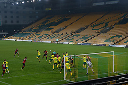 Leo Ostigard of Coventry City heads the ball towards goal- Mandatory by-line: Phil Chaplin/JMP - 28/11/2020 - FOOTBALL - Carrow Road - Norwich, England - Norwich City v Coventry City - Sky Bet Championship
