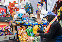 Visitors browse stalls at Africa on the Square, an event celebrating  traditions and cultures of the African continent, in Trafalgar Square, London. Picture date: Saturday October 15, 2016. Photo credit should read: Matt Crossick/ EMPICS Entertainment.