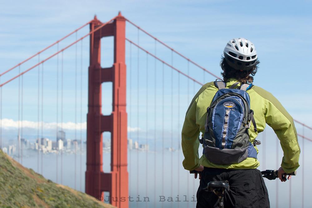 Jason Reale mountain biking the Marin Headlands, Golden Gate National Recreation Area. San Francisco,  CA