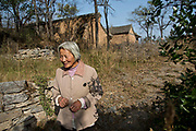 60 year old Pei Huayu walks down a path in  Maijieping Village, near Dengfeng, Henan Province, China on 23 October,  2013. Once the home to some 200 people, the village of Maijieping has seen its numbers dwindled to only four permanent  residents as most have moved to more convenient locations with access to jobs, schools, and hospitals.