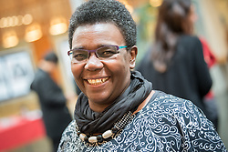 21 September 2017, Geneva, Switzerland: World Council of Churches staff gather for the annual Staff Enrichment Days. On Thursdays, WCC staff wear black, standing up in solidarity with victims of sexual and gender-based violence, for a world without rape and violence. Here, Nyambura Njoroge.