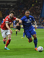 Football - 2017 / 2018 Sky Bet Championship - Cardiff City vs. Nottingham Forest<br /> <br /> Kenneth Zohore of Cardiff City attacks challenged by Tobias Figueiredo of Nottingham Forest, at Cardiff City Stadium.<br /> <br /> COLORSPORT/WINSTON BYNORTH