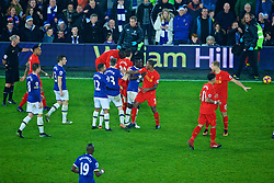 LIVERPOOL, ENGLAND - Monday, December 19, 2016: Liverpool and Everton players clash after a late tackle on captain Jordan Henderson during the FA Premier League match, the 227th Merseyside Derby, at Goodison Park. (Pic by Gavin Trafford/Propaganda)