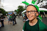 A young Plymouth Argyle fan on his way to Wembley Stadium to watch the Green Army play the Sky Bet League 2 play off final match between AFC Wimbledon and Plymouth Argyle at Wembley Stadium, London, England on 30 May 2016. Photo by Graham Hunt.