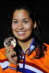 02-08-2013 ZWEMMEN: 15TH FINA WORLD CHAMPIONSHIPS: BARCELONA <br /> Ranomi Kromowidjojo die tevreden is met haar derde plaats op de 100 meter vrije slag <br /> ***NETHERLANDS ONLY***<br /> ©2013-FotoHoogendoorn.nl