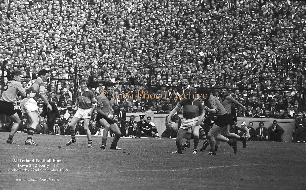 GAA All Ireland Senior Football Final Kerry v. Down 22nd September 1968 Croke Park.<br /> <br /> <br /> No further caption available *** Local Caption *** It is important to note that under the COPYRIGHT AND RELATED RIGHTS ACT 2000 the copyright of these photographs are the property of the photographer and they cannot be copied, scanned, reproduced or electronically stored in any form whatsoever without the written permission of the photographer