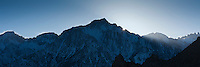 Sun setting behind Lone Pine Peak, Sierra Nevada Mountains, California