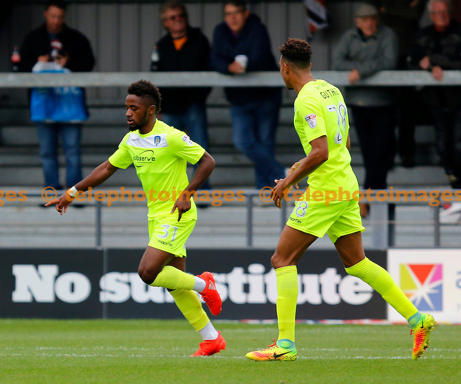 Colchester United's Tarique Fosu-Henry celebrates his goal during the Sky Bet League 2 match between Barnet and Colchester United at Underhill Stadium in London. September 17, 2016.<br /> Carlton Myrie / Telephoto Images<br /> +44 7967 642437