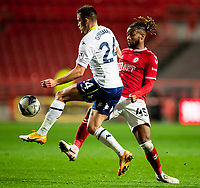 Football - 2020 / 2021 EFL Carabao Cup - Round Three - Bristol City vs  Aston Villa<br />  <br /> Frédéric Guilbert of Aston Villa vies with Kasey Palmer of Bristol City for the ball, at Ashton Gate.<br />  <br /> COLORSPORT/SIMON KING