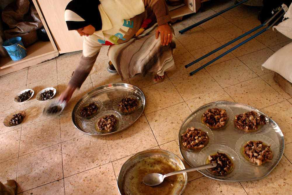 A meal is prepared for the celebration of Eid, the final day of Ramadan, at the Toumeh family home in the northern West Bank village of Qaffin...Photo by Erin Lubin