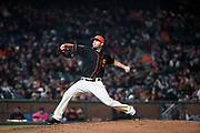 San Francisco Giants relief pitcher Andrew Suarez (76) pitches against the Oakland Athletics at AT&T Park in San Francisco, California, on March 26, 2018. (Stan Olszewski/Special to S.F. Examiner)