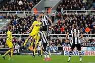 Newcastle United defender Jamaal Lascelles (6) clears a Burton cross during the EFL Sky Bet Championship match between Newcastle United and Burton Albion at St. James's Park, Newcastle, England on 5 April 2017. Photo by Richard Holmes.