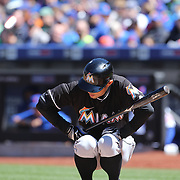 NEW YORK, NEW YORK - APRIL 13: Ichiro Suzuki, Miami Marlins, during his pre batting ritual at the plate during the Miami Marlins Vs New York Mets MLB regular season ball game at Citi Field on April 13, 2016 in New York City. (Photo by Tim Clayton/Corbis via Getty Images)