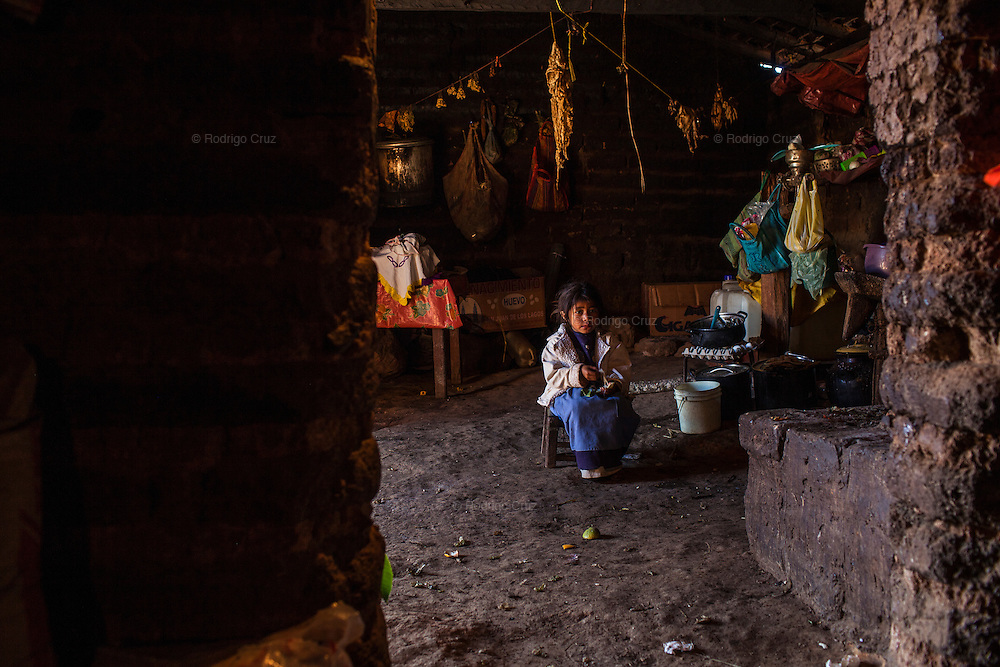 XALPITZAHUAC, MEXICO - NOVEMBER 16, 2010: A girl stays at home. Families of a community Xalpitzahuac are forced to sow poppy plants in Guerrero due to the poverty, marginalization and lack of employs.  Rodrigo Cruz for The New York Times