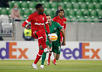 RAZGRAD, BULGARIA - OCTOBER 22: Dylan Batubinsika comes forward on the ball during the UEFA Europa League Group J stage match between PFC Ludogorets Razgrad and Royal Antwerp at Ludogorets Arena on October 22, 2020 in Razgrad, Bulgaria. (Photo by Nikola Krstic/MB Media)